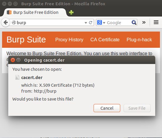 Burp CA certificate download